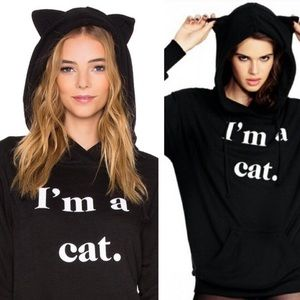 NWT Wildfox I am a cat ears hoodie sweatshirt L